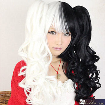 черно белые волосы