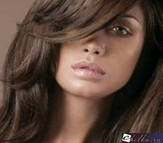 челка на бок на длинные волосы