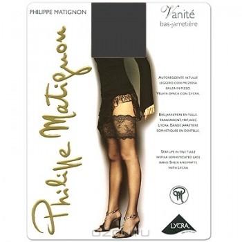 """Чулки Philippe Matignon """"Vanite Bas-Jarretiere"""". Nero (черные), размер L (10-10 1/2)"""